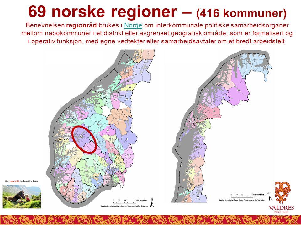 69 norske regioner – (416 kommuner)