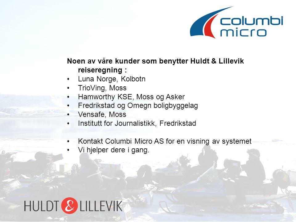 Noen av våre kunder som benytter Huldt & Lillevik reiseregning :