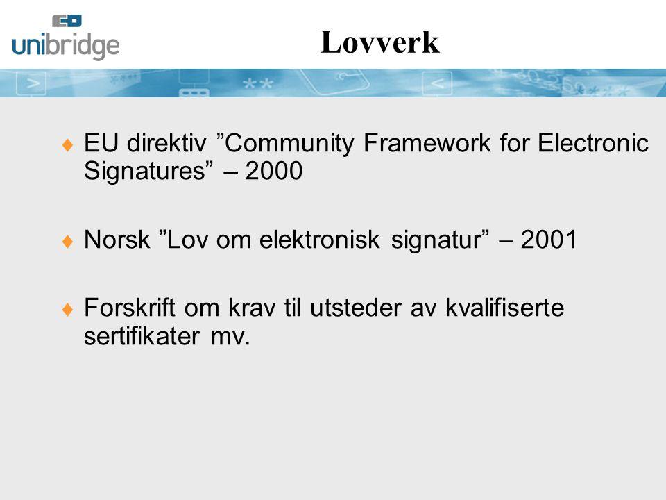 Lovverk EU direktiv Community Framework for Electronic Signatures – 2000. Norsk Lov om elektronisk signatur – 2001.