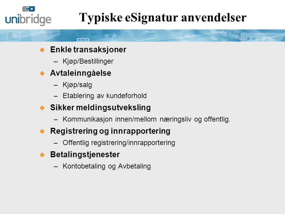 Typiske eSignatur anvendelser