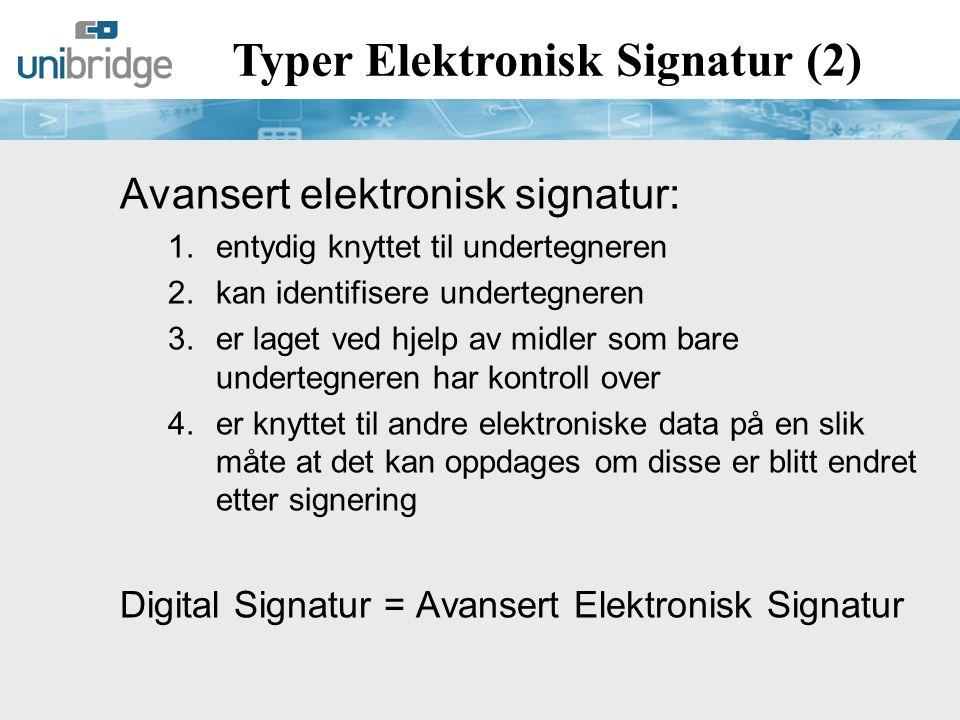 Typer Elektronisk Signatur (2)