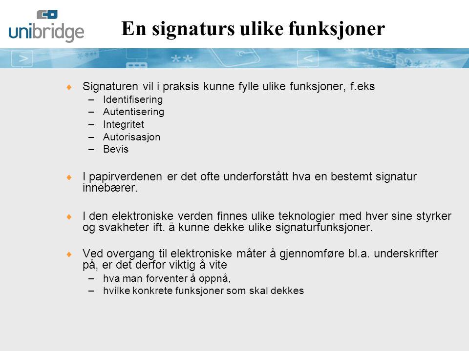 En signaturs ulike funksjoner