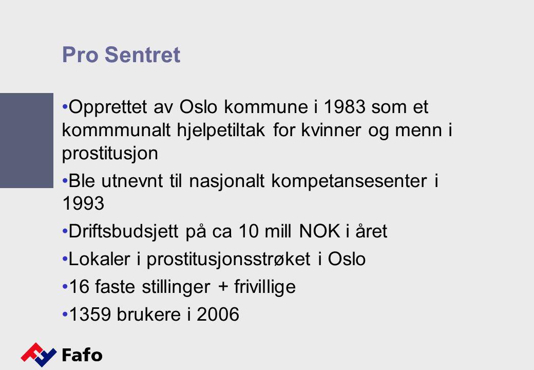 Pro Sentret Opprettet av Oslo kommune i 1983 som et kommmunalt hjelpetiltak for kvinner og menn i prostitusjon.