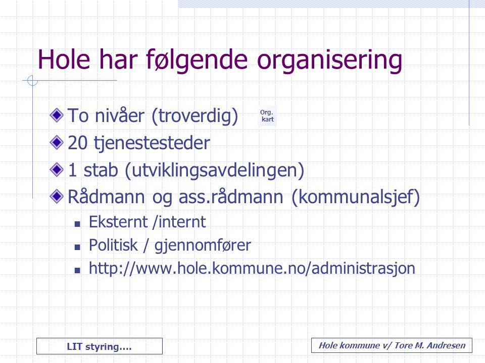 Hole har følgende organisering