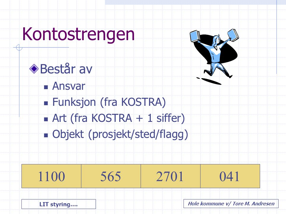 Kontostrengen 1100 565 2701 041 Består av Ansvar Funksjon (fra KOSTRA)