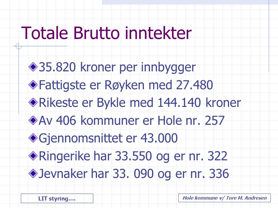 Totale Brutto inntekter