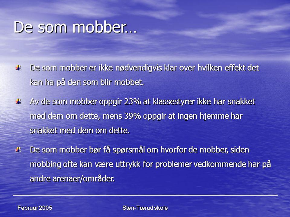 De som mobber… De som mobber er ikke nødvendigvis klar over hvilken effekt det kan ha på den som blir mobbet.
