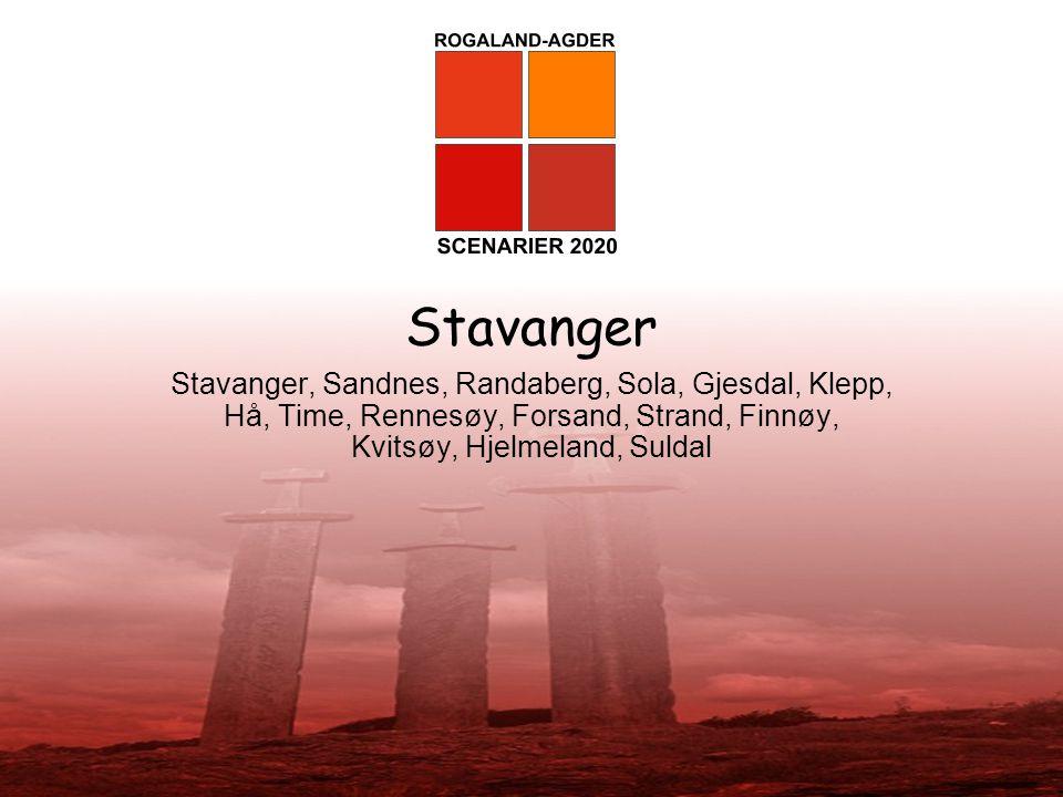 Stavanger Stavanger, Sandnes, Randaberg, Sola, Gjesdal, Klepp, Hå, Time, Rennesøy, Forsand, Strand, Finnøy, Kvitsøy, Hjelmeland, Suldal.