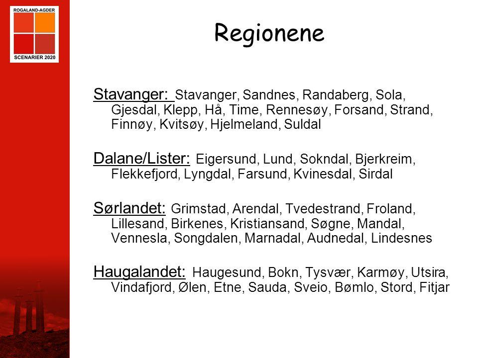 Regionene Stavanger: Stavanger, Sandnes, Randaberg, Sola, Gjesdal, Klepp, Hå, Time, Rennesøy, Forsand, Strand, Finnøy, Kvitsøy, Hjelmeland, Suldal.