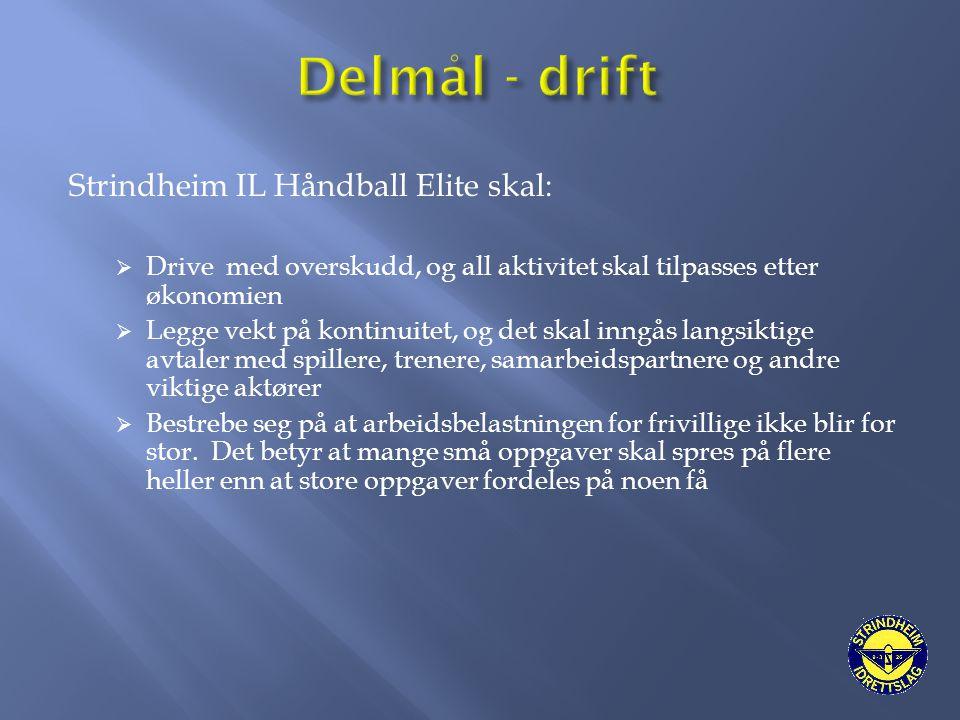Delmål - drift Strindheim IL Håndball Elite skal: