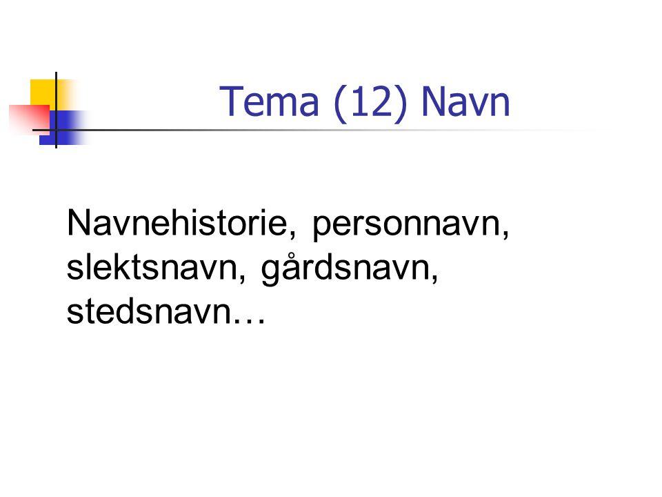 Tema (12) Navn Navnehistorie, personnavn, slektsnavn, gårdsnavn, stedsnavn…