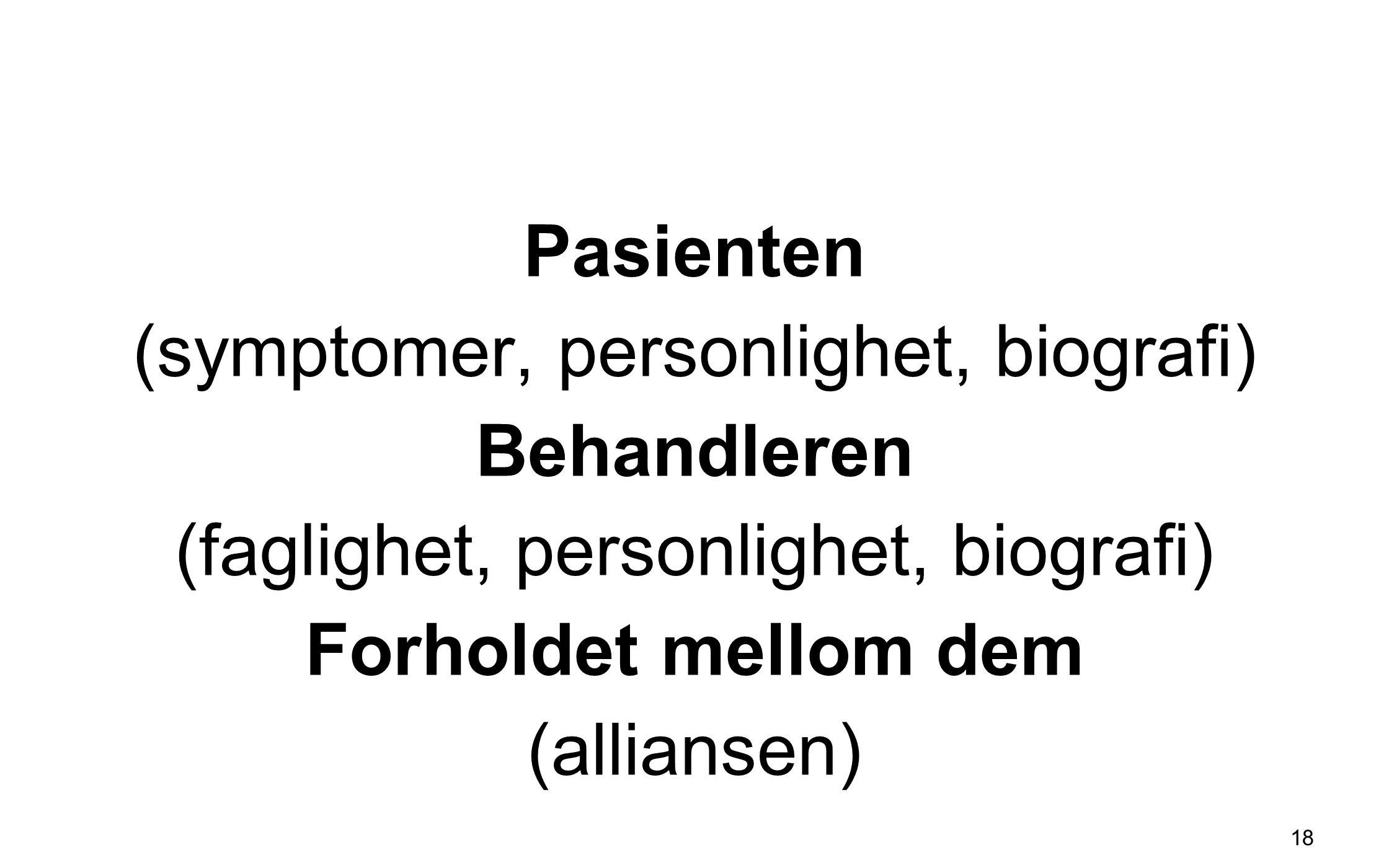 Pasienten (symptomer, personlighet, biografi) Behandleren (faglighet, personlighet, biografi) Forholdet mellom dem (alliansen)