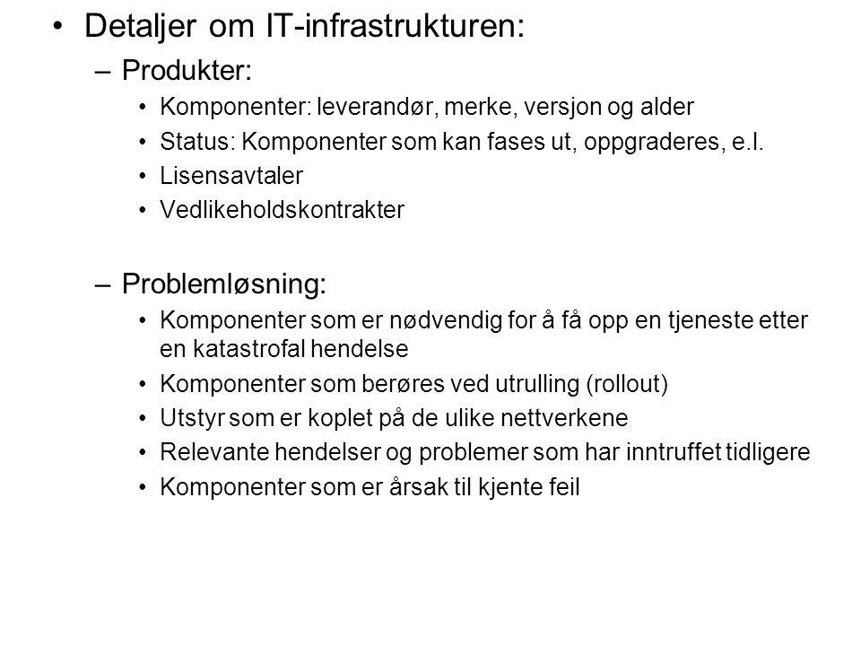 Detaljer om IT-infrastrukturen: