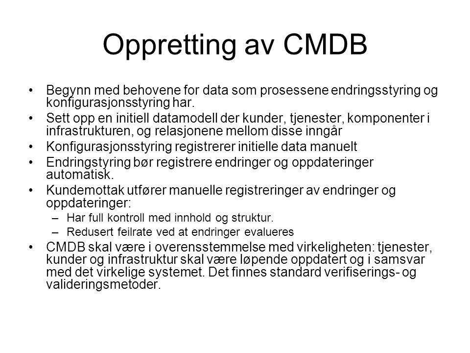 Oppretting av CMDB Begynn med behovene for data som prosessene endringsstyring og konfigurasjonsstyring har.