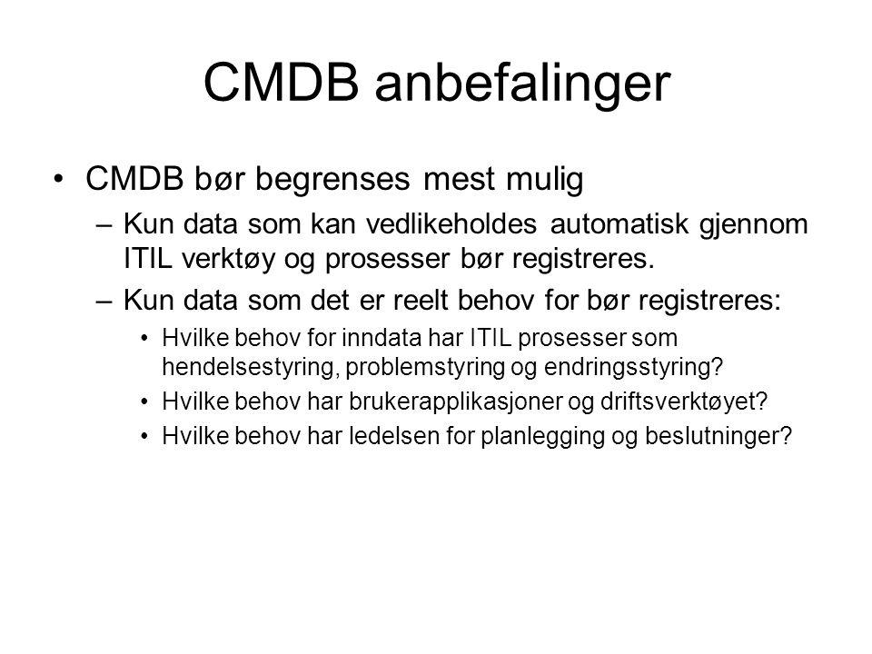 CMDB anbefalinger CMDB bør begrenses mest mulig