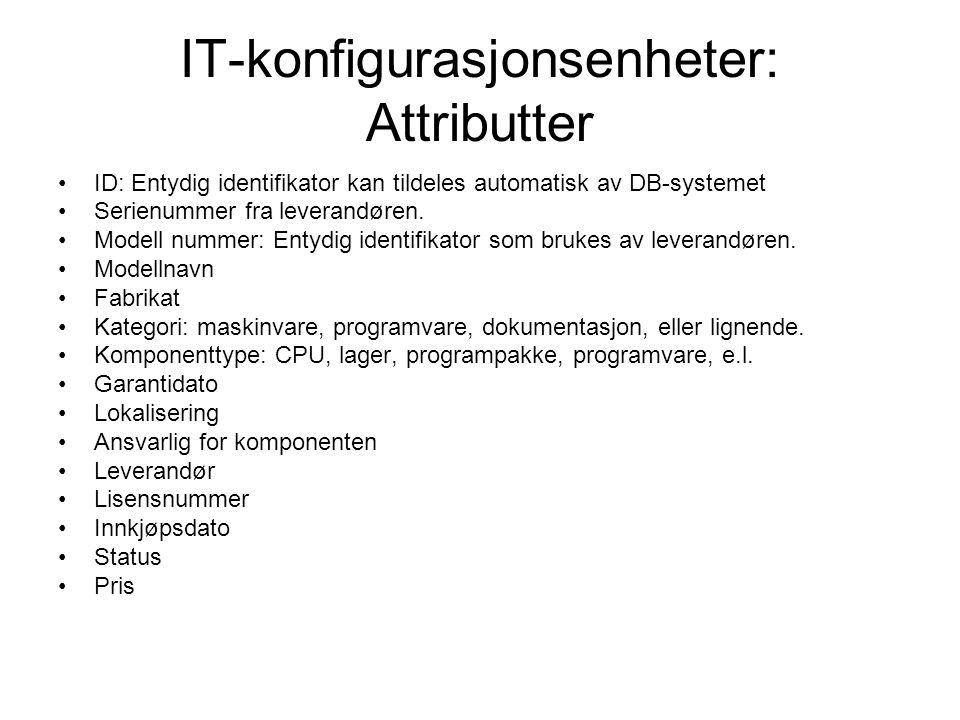 IT-konfigurasjonsenheter: Attributter