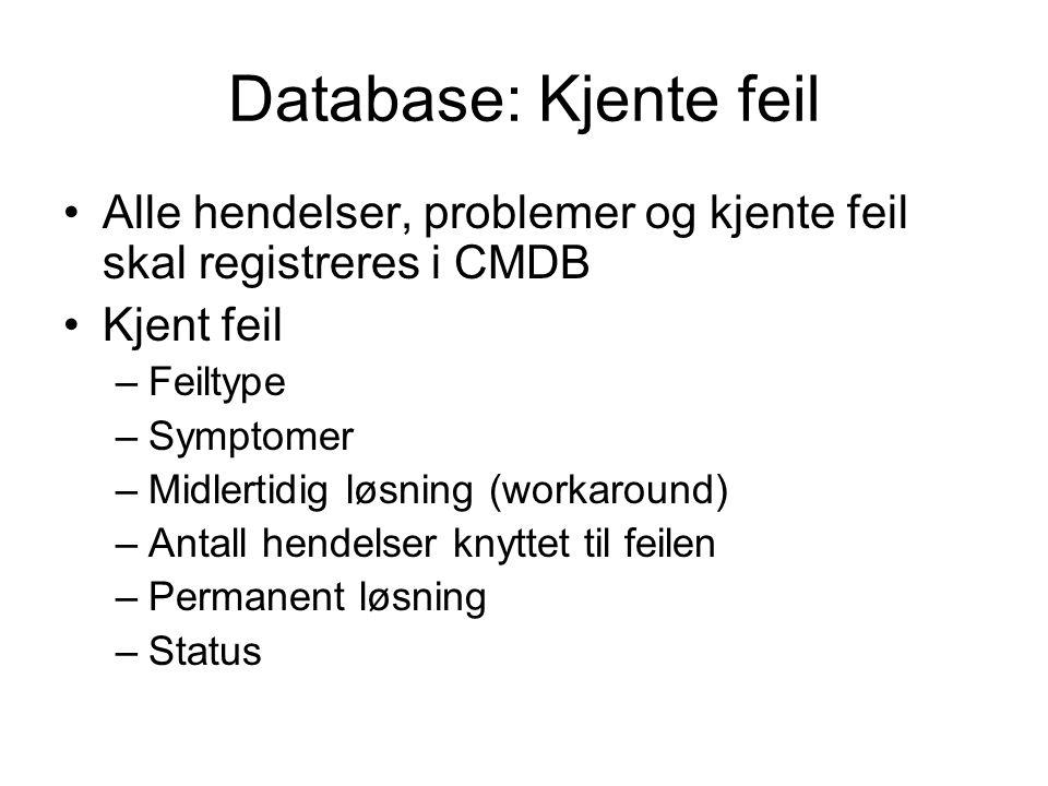 Database: Kjente feil Alle hendelser, problemer og kjente feil skal registreres i CMDB. Kjent feil.