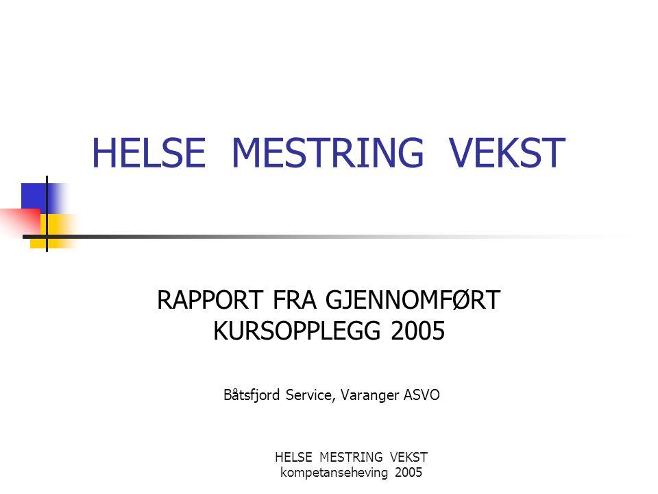 HELSE MESTRING VEKST RAPPORT FRA GJENNOMFØRT KURSOPPLEGG 2005