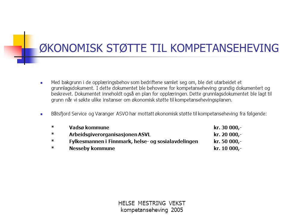ØKONOMISK STØTTE TIL KOMPETANSEHEVING