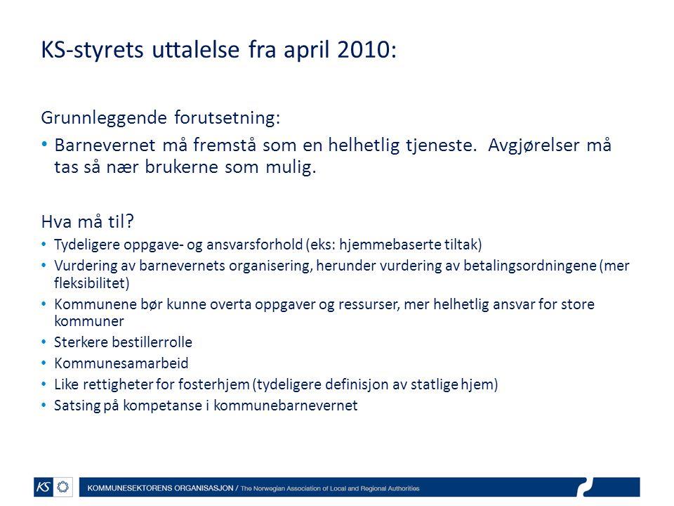 KS-styrets uttalelse fra april 2010: