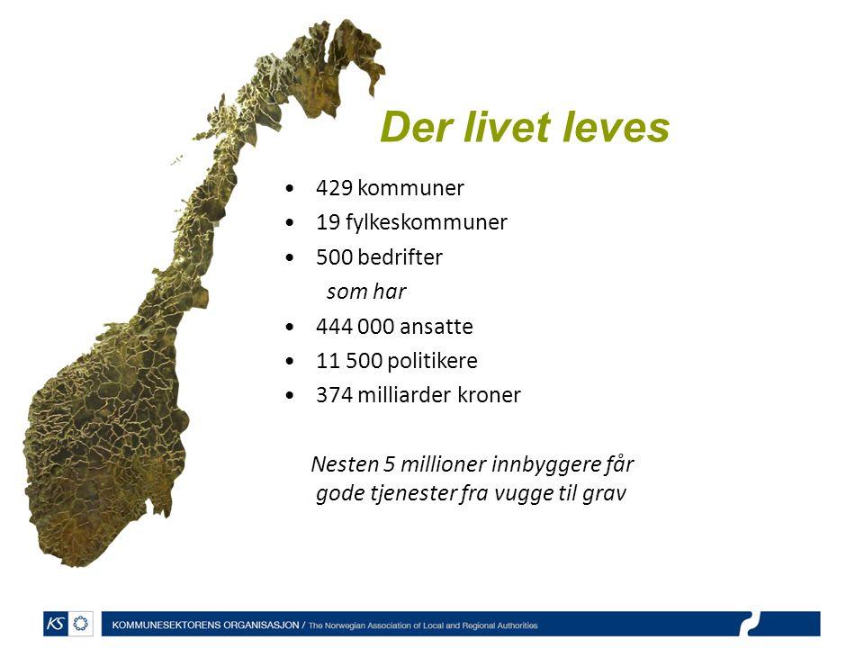Der livet leves 429 kommuner 19 fylkeskommuner 500 bedrifter som har