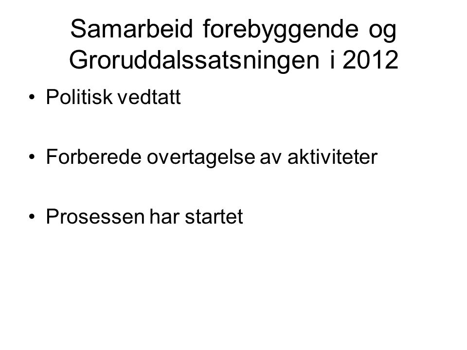 Samarbeid forebyggende og Groruddalssatsningen i 2012