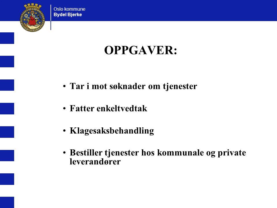 OPPGAVER: Tar i mot søknader om tjenester Fatter enkeltvedtak