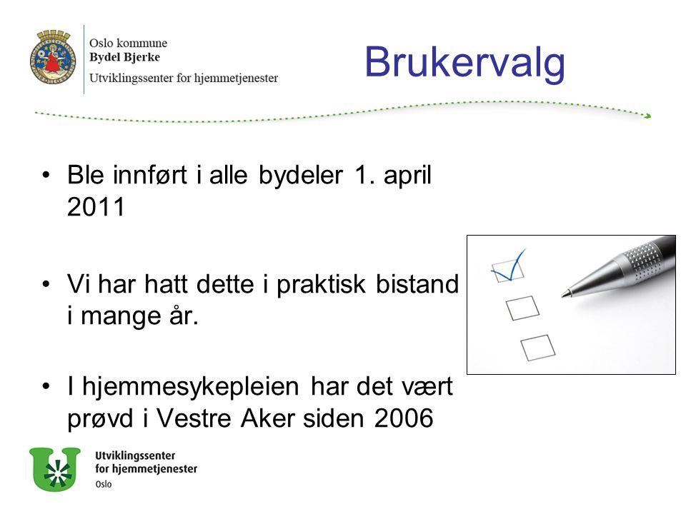 Brukervalg Ble innført i alle bydeler 1. april 2011