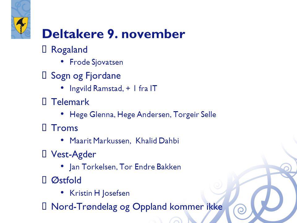 Deltakere 9. november Rogaland Sogn og Fjordane Telemark Troms