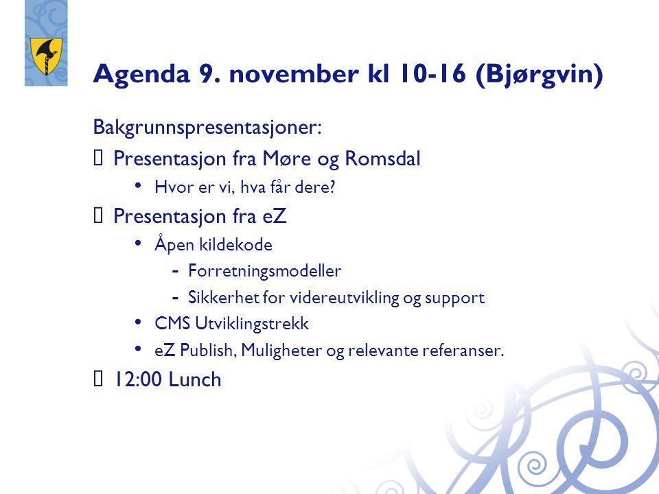 Agenda 9. november kl 10-16 (Bjørgvin)