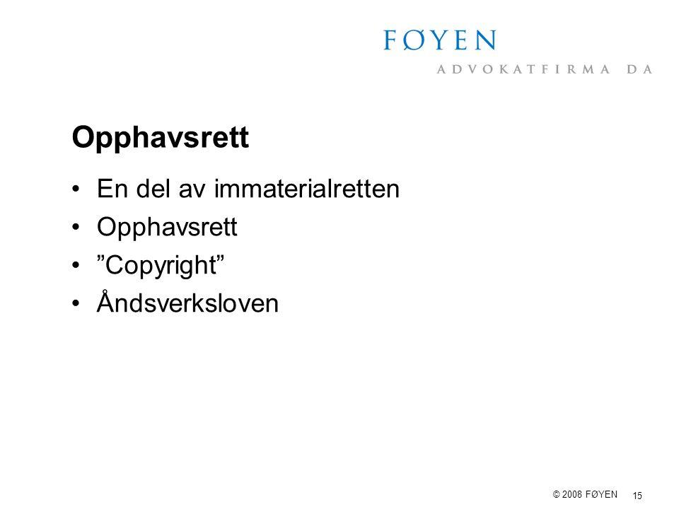 Opphavsrett En del av immaterialretten Opphavsrett Copyright