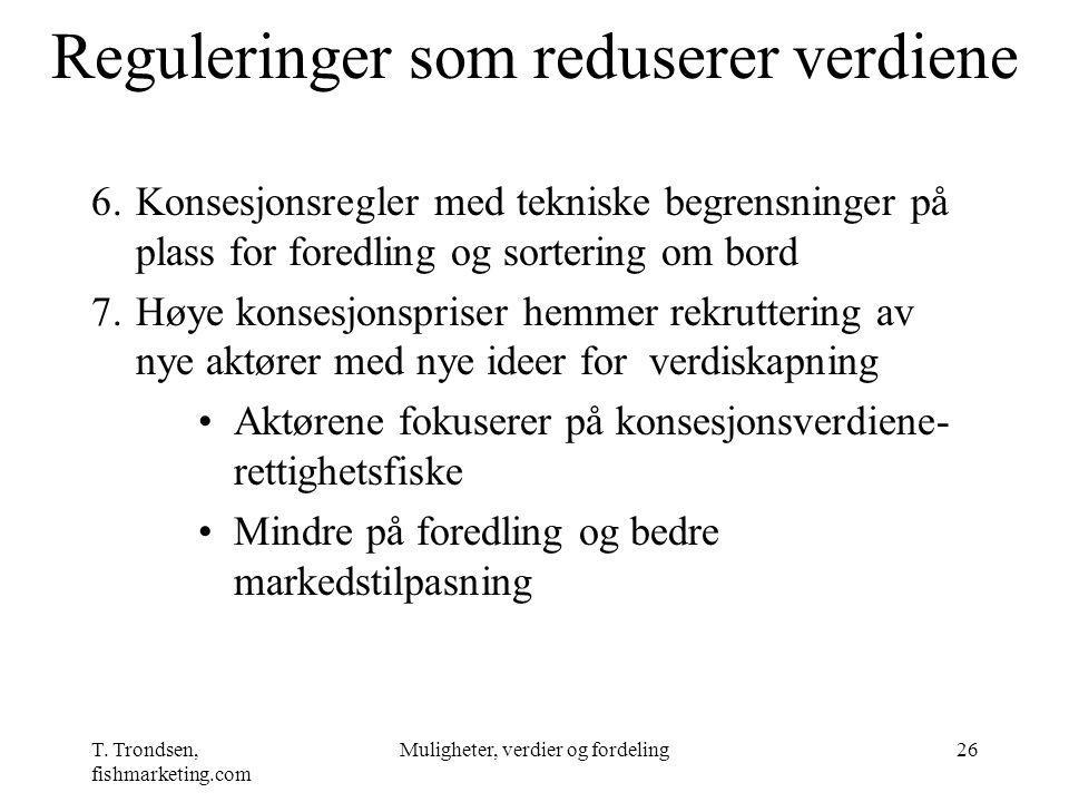 Reguleringer som reduserer verdiene