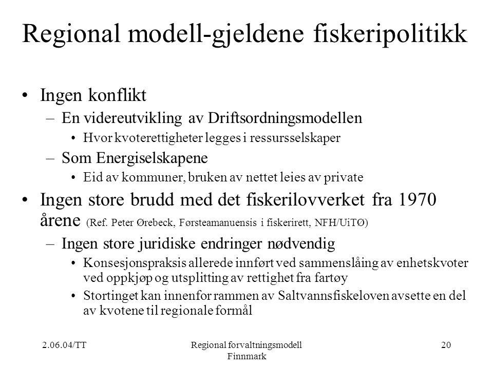 Regional modell-gjeldene fiskeripolitikk