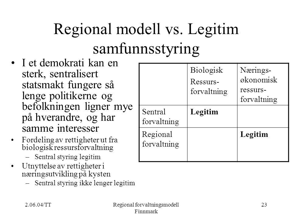 Regional modell vs. Legitim samfunnsstyring