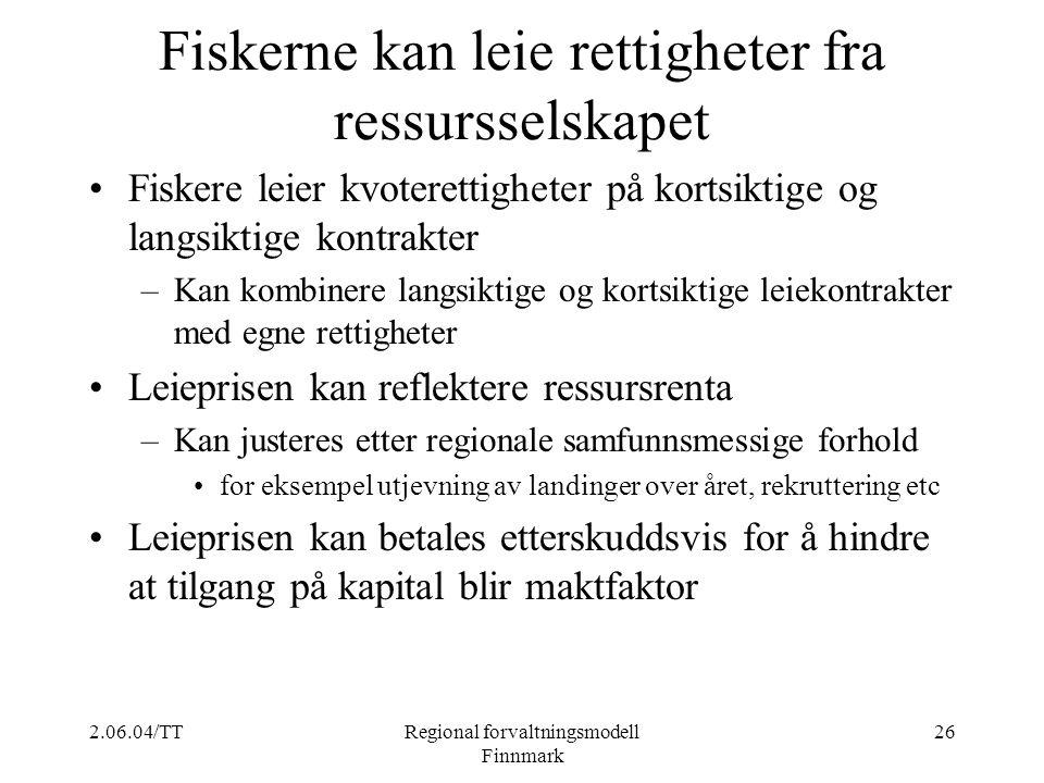 Fiskerne kan leie rettigheter fra ressursselskapet