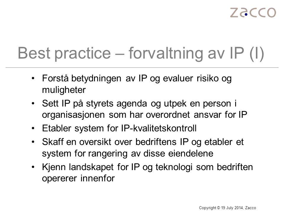 Best practice – forvaltning av IP (I)