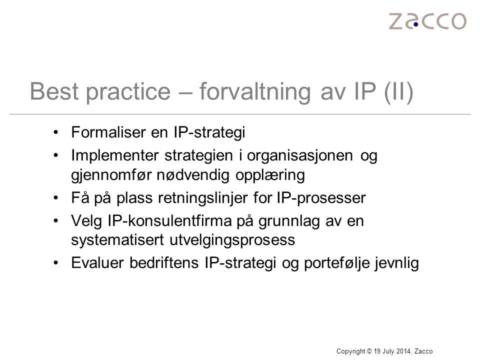 Best practice – forvaltning av IP (II)