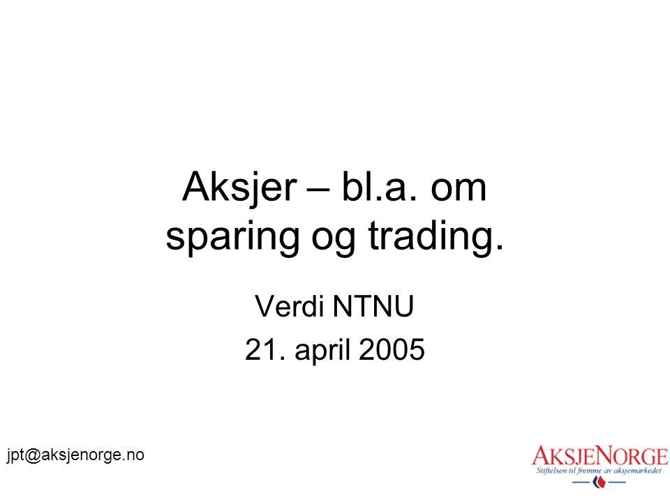 Aksjer – bl.a. om sparing og trading.