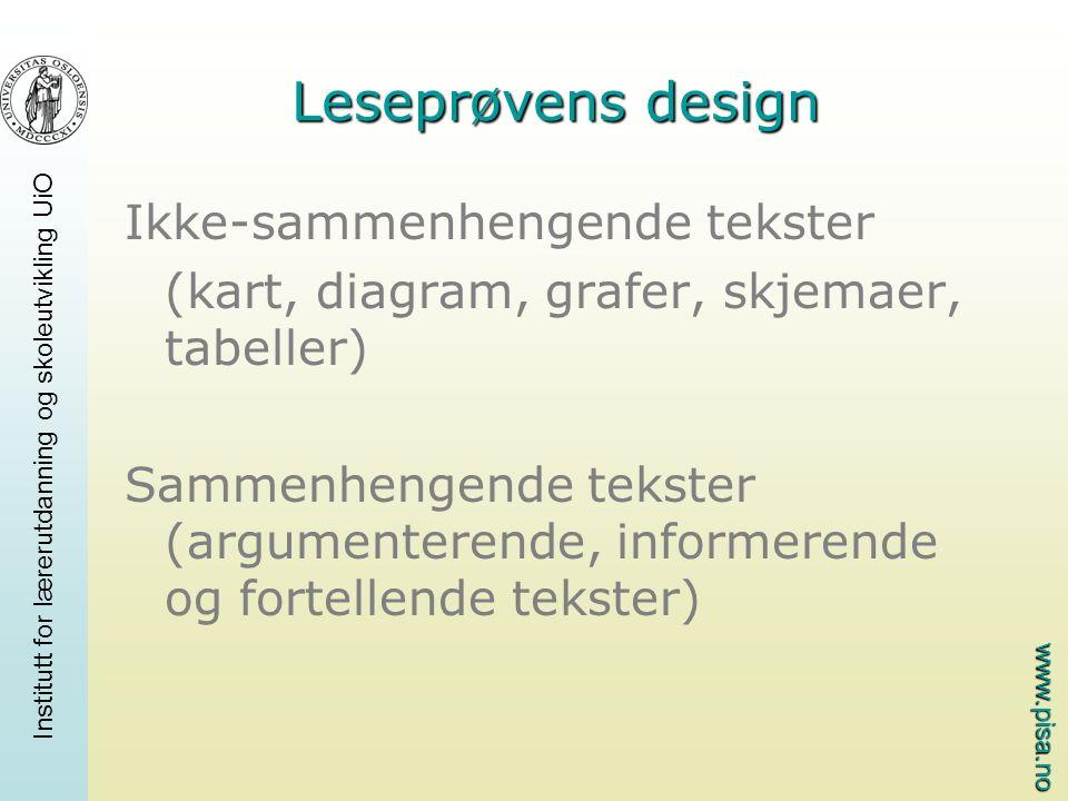Leseprøvens design Ikke-sammenhengende tekster