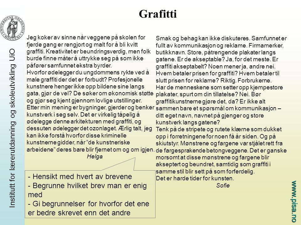 Grafitti - Hensikt med hvert av brevene