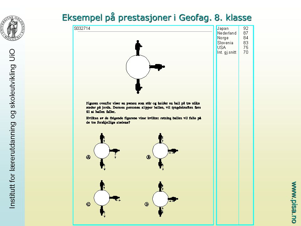 Eksempel på prestasjoner i Geofag. 8. klasse