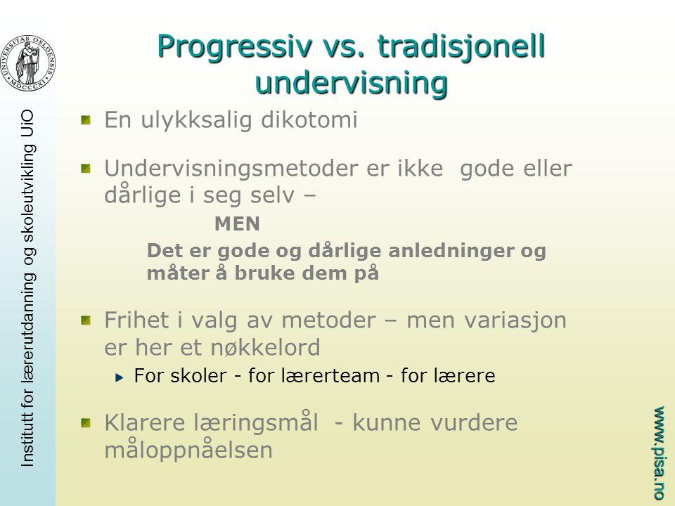 Progressiv vs. tradisjonell undervisning
