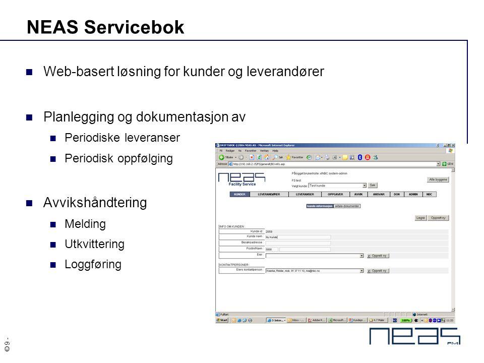 NEAS Servicebok Web-basert løsning for kunder og leverandører