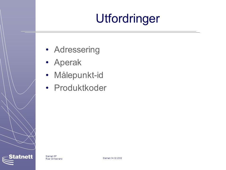 Utfordringer Adressering Aperak Målepunkt-id Produktkoder Statnett SF