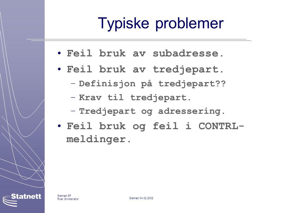 Typiske problemer Feil bruk av subadresse. Feil bruk av tredjepart.