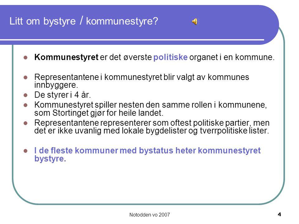 Litt om bystyre / kommunestyre
