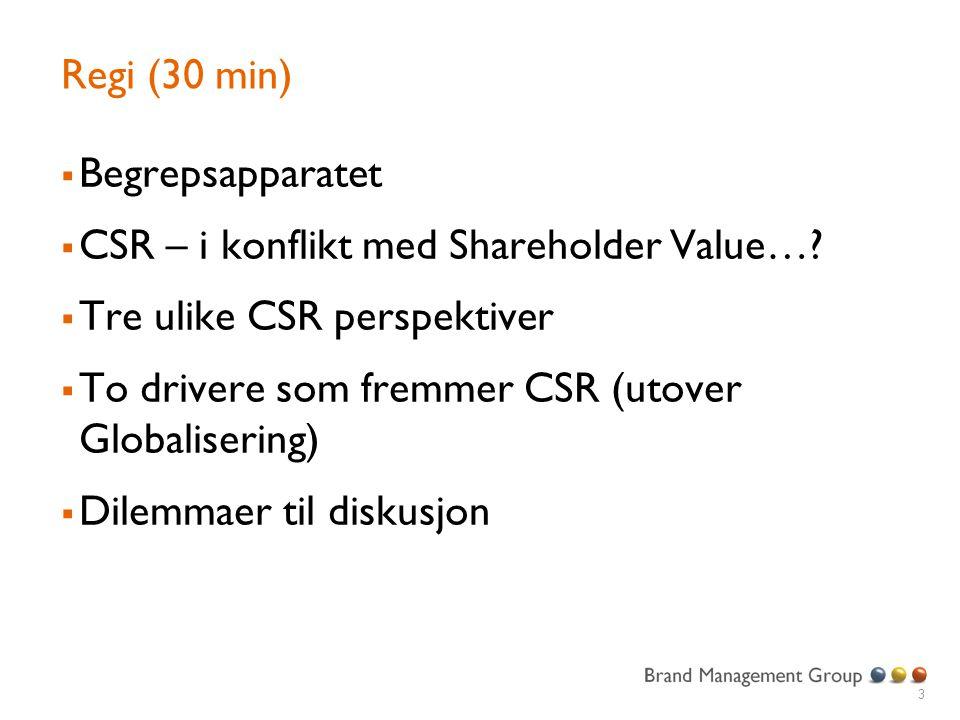 Regi (30 min) Begrepsapparatet. CSR – i konflikt med Shareholder Value… Tre ulike CSR perspektiver.