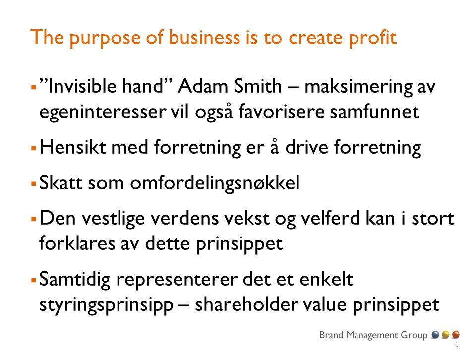 The purpose of business is to create profit