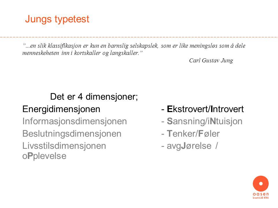 Jungs typetest Det er 4 dimensjoner;