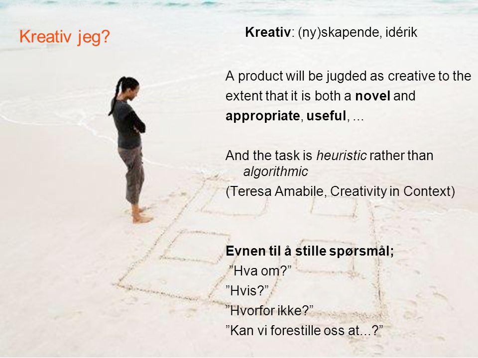 Kreativ jeg Kreativ: (ny)skapende, idérik